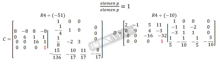 Invers Matriks 4x4 Metode OBE Kunci K8