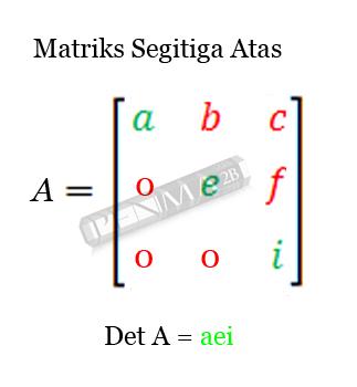 Determinan matriks 3x3 matriks segitiga atas