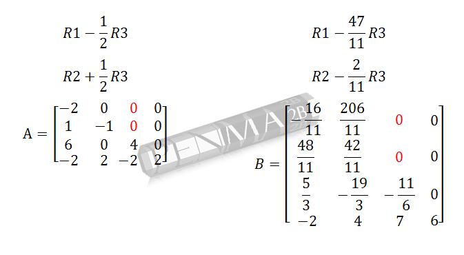 determinan matriks 4x4 metode OBE langkah 2