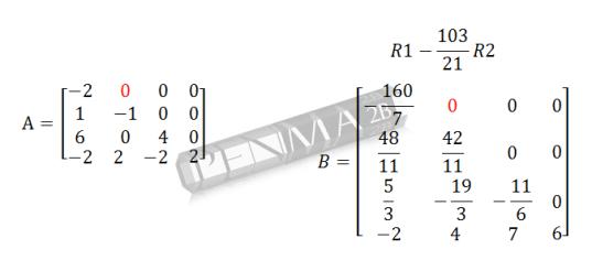 determinan matriks 4x4 metode OBE langkah 3